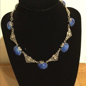 Jewelry - Antique silver with lapis necklace